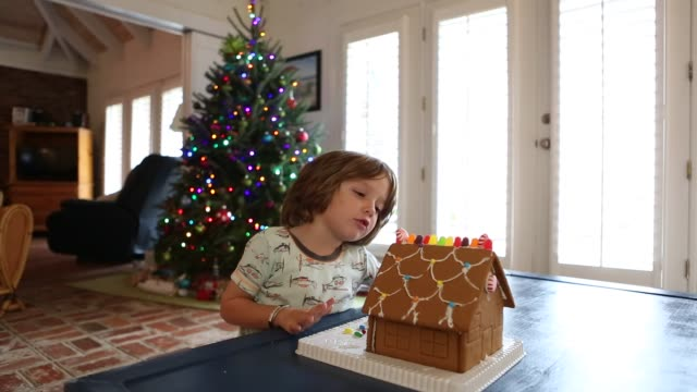 boy looking at ginger bread house