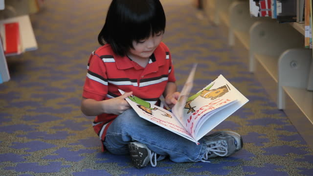 MS TU Boy (6-7) looking at picture book, sitting down on library floor / Richmond, Virginia, USA