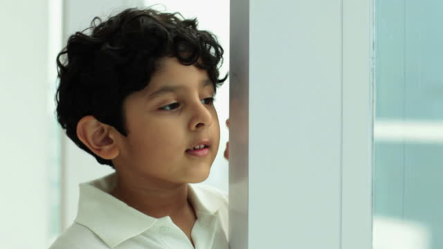 Boy looking through from a window