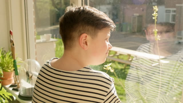 boy looking through window - 12 13 år bildbanksvideor och videomaterial från bakom kulisserna