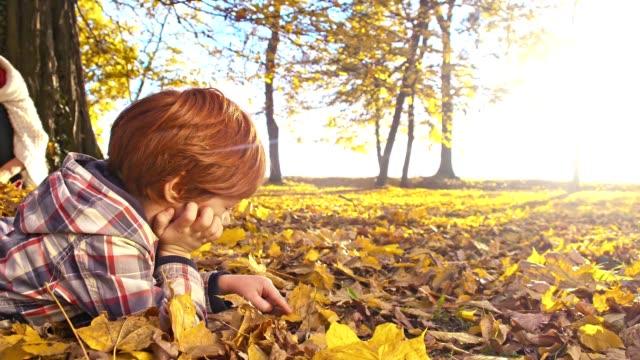 SLO Missouri petit garçon allongé sur feuilles d'automne