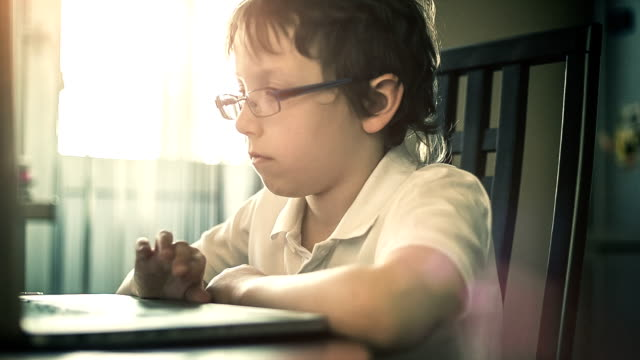 Boy making the homework on a laptop