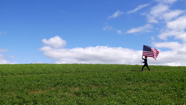 boy marching with the us flag - stars and stripes stock videos & royalty-free footage