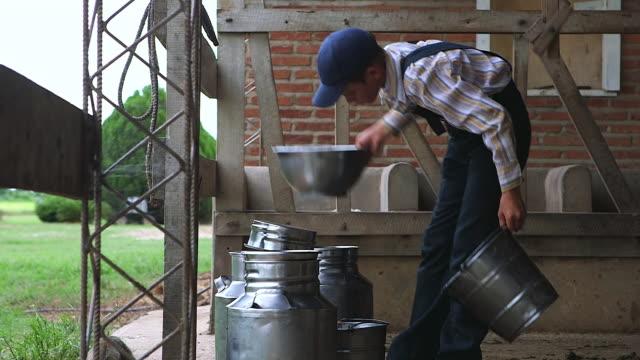 ms boy milking cow / manitoba community, close to santa cruz de la sierra, bolivia - milk churn stock videos & royalty-free footage