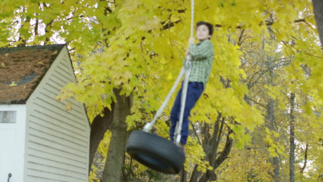 a boy on a rope swing - tyre swing stock videos & royalty-free footage