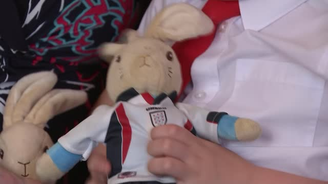 boy overwhelmed after missing toy goes on round-the-world adventure; england: worcestershire: int six-year-old ethan mccann playing with his soft toy... - adventure stock videos & royalty-free footage