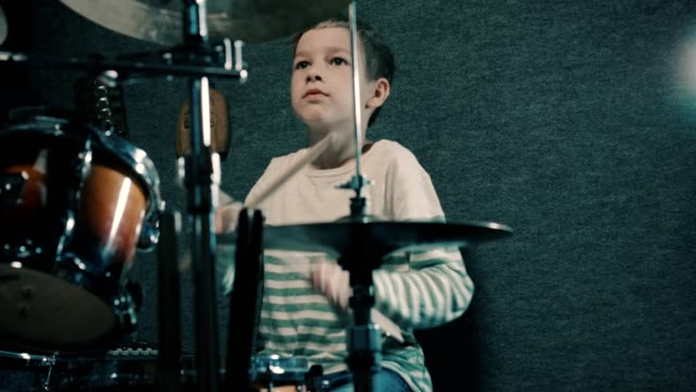 boy playing drums - drum kit stock videos & royalty-free footage