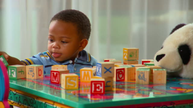 ZI, CU, Boy (12-17 months) playing with alphabet blocks, Richmond, Virginia, USA
