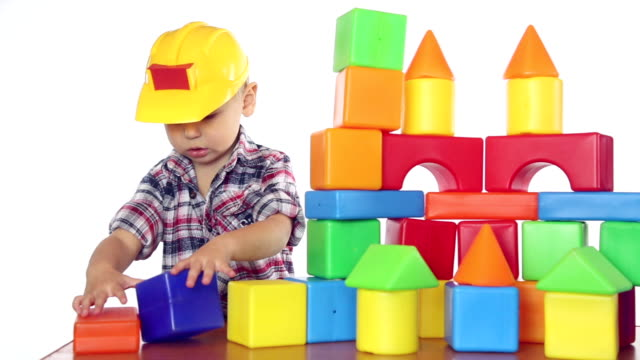 boy playing with blocks - block shape stock videos & royalty-free footage