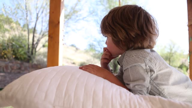 boy playing with pillow - pillow stock videos and b-roll footage