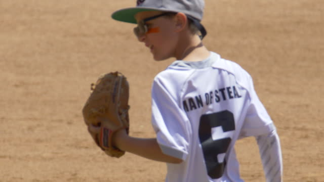 Boy plays pitcher in a little league baseball game.