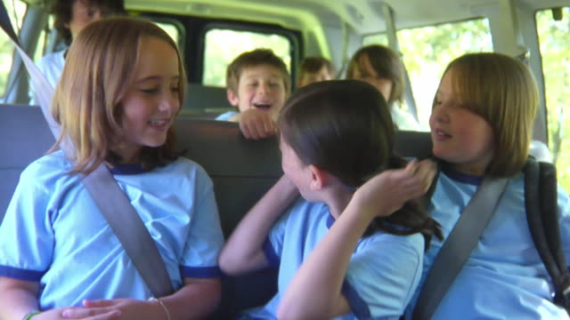 MS, boy (8-9) pulling girls (8-9) pigtails sitting in van, Bovina, New York State, USA