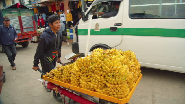 boy pushing a cartload of ripe bananas in san cristobal de las casas, chiapas, mexico - one teenage boy only stock videos & royalty-free footage