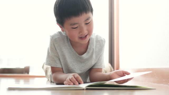 stockvideo's en b-roll-footage met jongen die een boek thuis leest - prentenboek