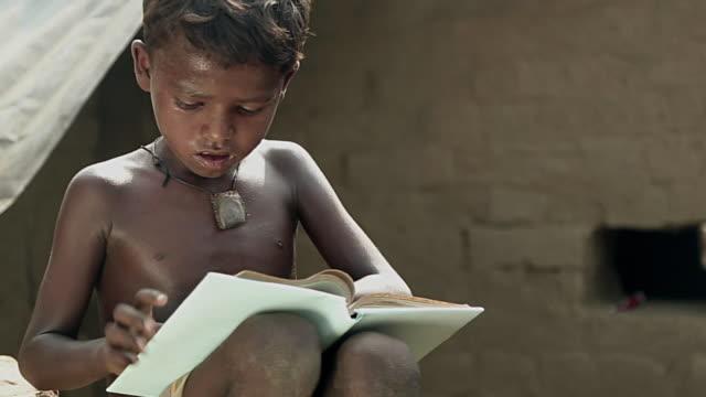 Boy reading a book, Haryana, India