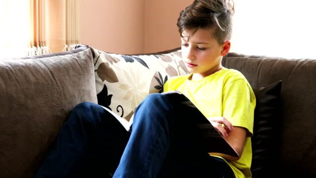 boy resting at home and studying - one teenage boy only stock videos & royalty-free footage