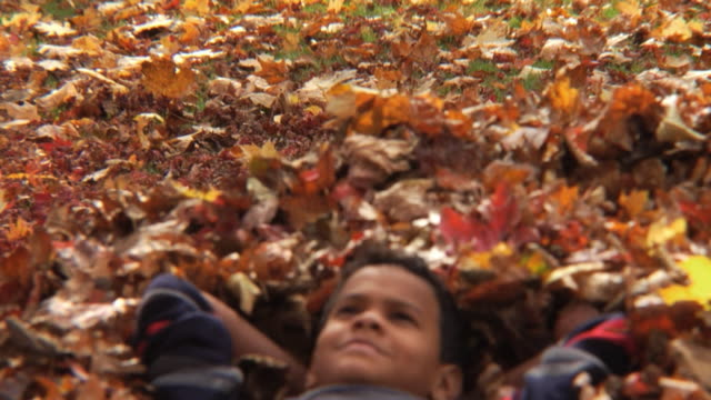 ms td boy (8-9) resting in pile of leaves / montclair, new jersey, usa - heap stock videos & royalty-free footage