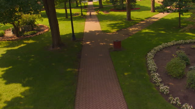 boy riding bike down park path, jib shot down - herunterlassen stock-videos und b-roll-filmmaterial