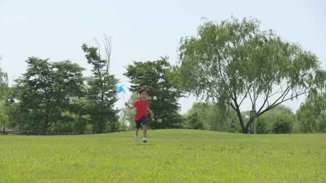 a boy running and holding a pinwheel on the lawn - windrad stock-videos und b-roll-filmmaterial