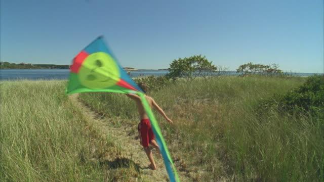 ha ws boy running with kite along beach path with girl following / phippsburg, maine, usa  - オオハマガヤ属点の映像素材/bロール