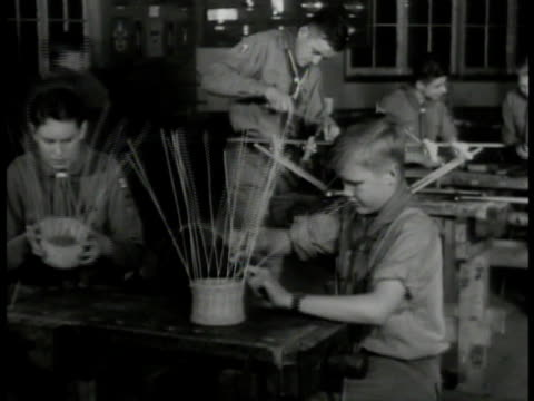 'learning by doing' int ms boy scout making basket ws scouts making baskets work shop ms boy drilling w/ machine ms scouts w/ welding masks amp torch... - boy scouts of america stock videos and b-roll footage