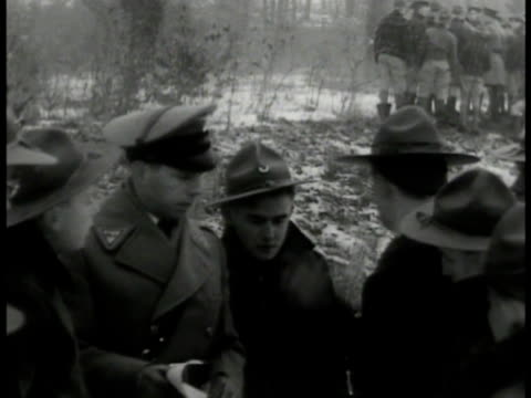 boy scout search parties into woods ms state trooper talking w/ scouts ws scouts combing woods vs scouts carrying wounded woman loading into... - boy scouts of america stock videos and b-roll footage