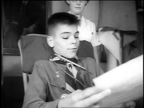 boy scouts presenting a scout with polio in a wheelchair with honor award / seattle washington united states - boy scouts of america stock videos and b-roll footage
