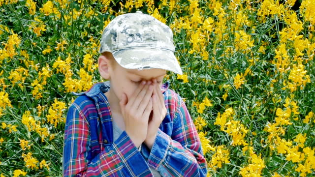boy sneezing - hay fever stock videos and b-roll footage