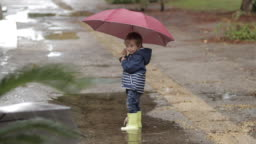 A boy stands with an umbrella and rubber boots in a puddle in the rain.