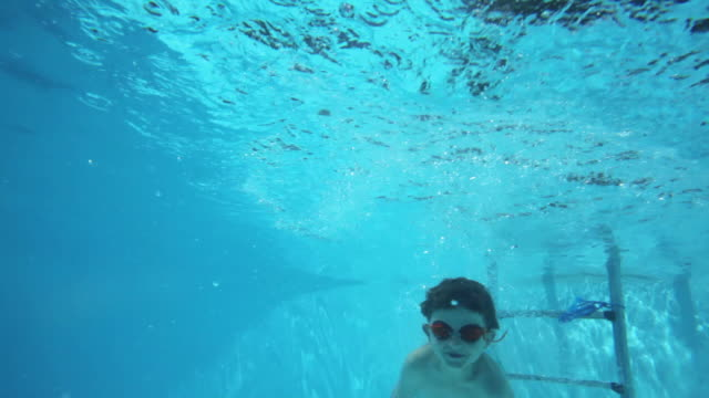 vidéos et rushes de ms tu boy (6-7) swimming underwater in swimming pool and waving / fayence, var, france - var
