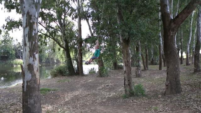 boy swinging on tree swing - tyre swing stock videos & royalty-free footage