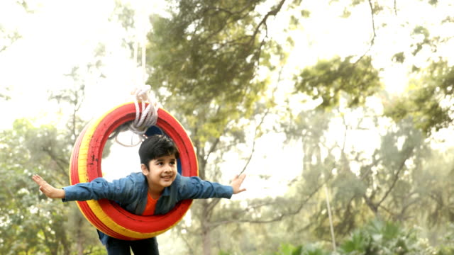 ms boy swinging on tyre swing in garden / delhi, india - tyre swing stock videos & royalty-free footage
