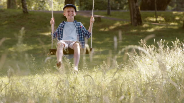 slo mo ds boy swinging under a tree in nature - daydreaming stock videos & royalty-free footage
