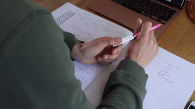 boy takes home video lesson, this boy is a high school student, on april 26, 2021 in paris, france. the start of the school year after the school... - secondary school child stock videos & royalty-free footage