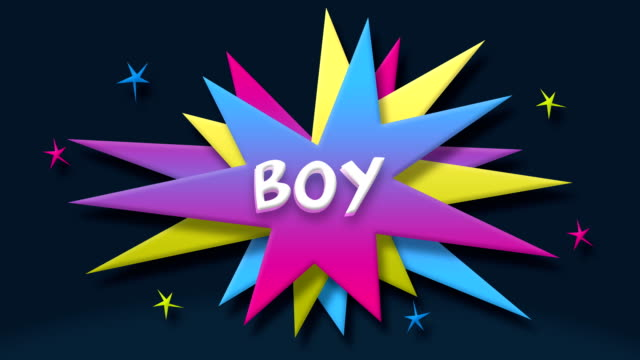 boy text in speech balloon with colorful stars - speech bubble stock videos & royalty-free footage