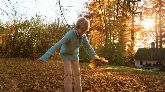 Boy Tossing Leaves