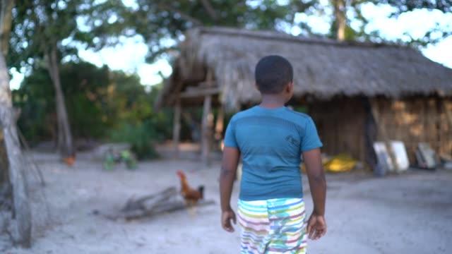 vidéos et rushes de garçon essayant d'attraper un peu de poulet dans une scène rurale - amérique du sud