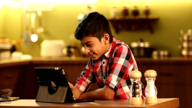 ms boy using digital tablet in kitchen / delhi, india - salt shaker stock videos and b-roll footage