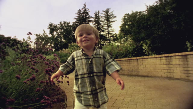 sm ms ts boy walking happily down garden path / minnesota, usa - garden path stock videos and b-roll footage