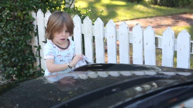 boy washing car - straccio video stock e b–roll