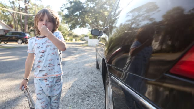 boy washing car - pyjamas stock videos & royalty-free footage