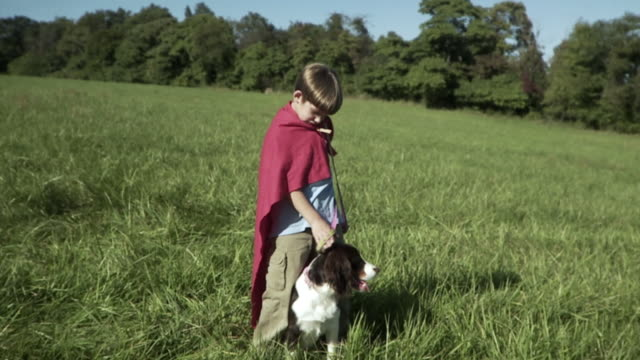SLO MO WS Boy (2-3) wearing cape stroking dog in meadow / Hampton, New Jersey, USA