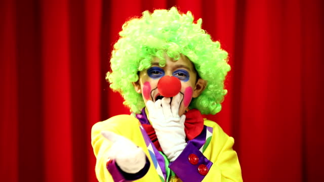 cu boy wearing clown costume performing on stage during annual day - clown stock videos & royalty-free footage