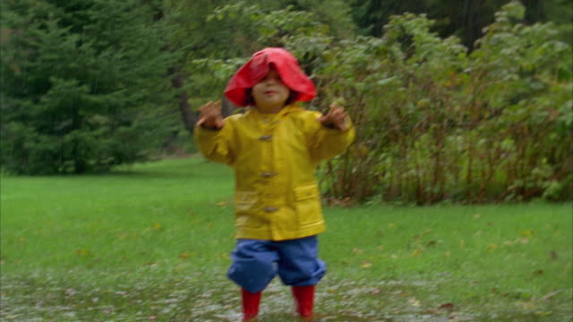 ms, boy (2-3) wearing raincoat playing in rain, yarmouth, maine, usa - arm stock videos & royalty-free footage