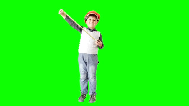 boy with a tape measure and a helmet smiles - sticky tape stock videos & royalty-free footage
