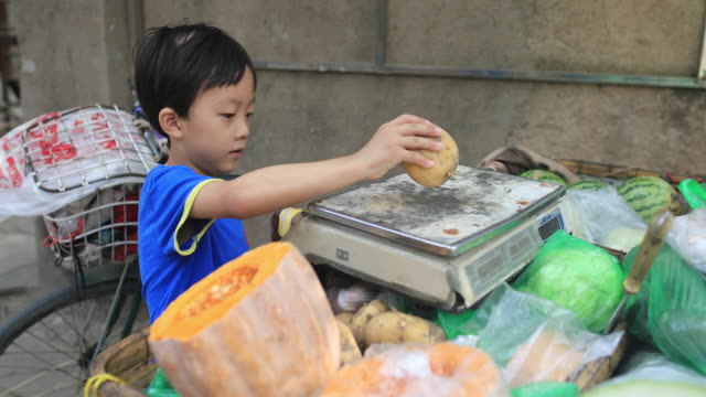 Boy with vegetables