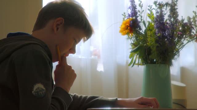vídeos de stock e filmes b-roll de boy working on his homework - meninos adolescentes