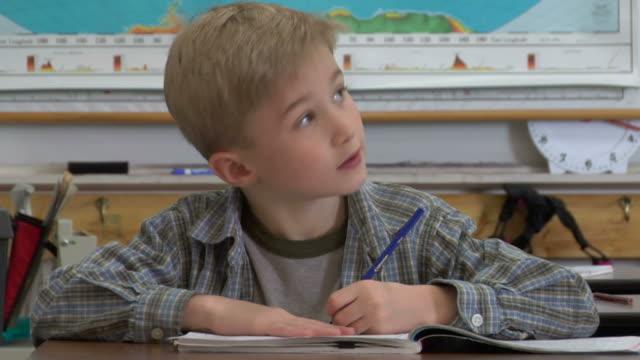CU, Boy (6-7) writing in notebook in classroom