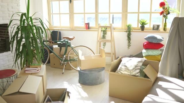 vídeos de stock, filmes e b-roll de noivo e amiga que movem-se em um apartamento novo - carregando