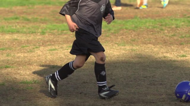 Boys ages 6 to 8 playing in a youth soccer league game. - Slow Motion - filmed at 240 fps